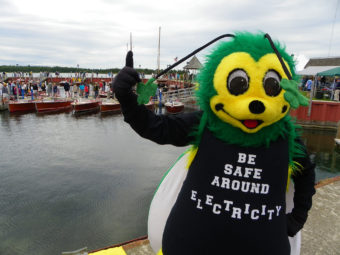 "A bee mascot with the phrase ""Be safe around electricity"" written on him."