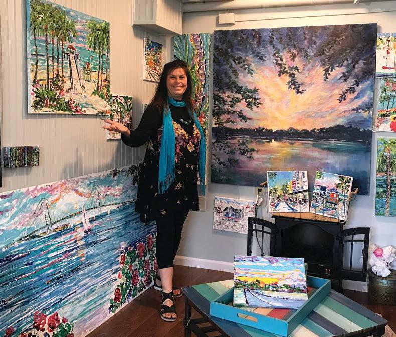 Noel Skiba's displays her vibrant artwork in her Mackinac Island studio.