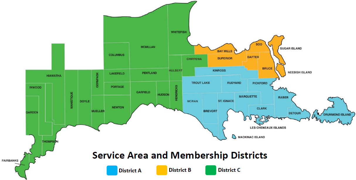 Service Area and Membership Districts Map