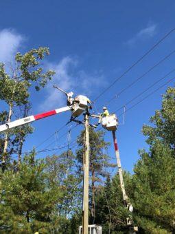 Linemen working on power pole.