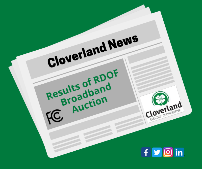 "Newspaper with headline ""Results of RDOF Broadband Auction."" FCC logo, Cloverland logo, social media icons."