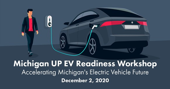Michigan UP EV Readiness Workshop. Car attached to an electronic charging station.